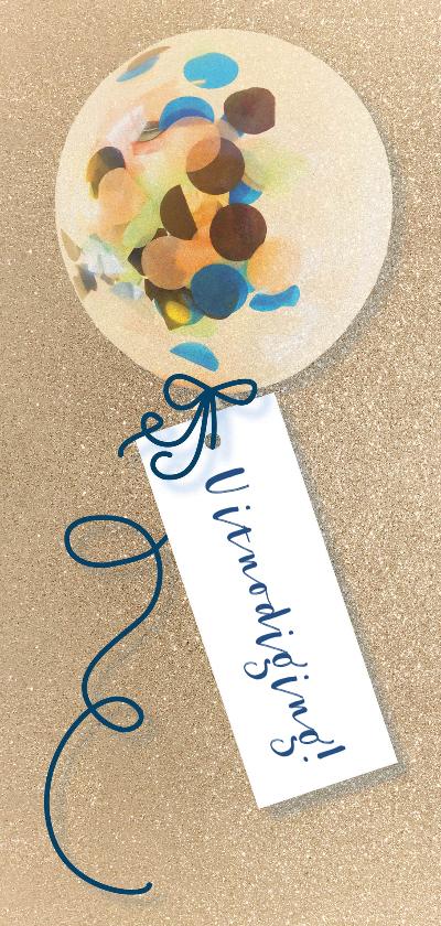 Uitnodigingen - Uitnodiging feest confetti ballon goud
