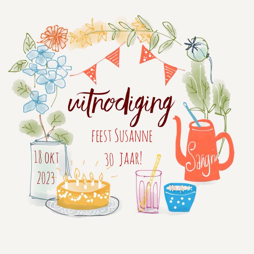 Uitnodigingen - Uitnodiging Feest Fleurig