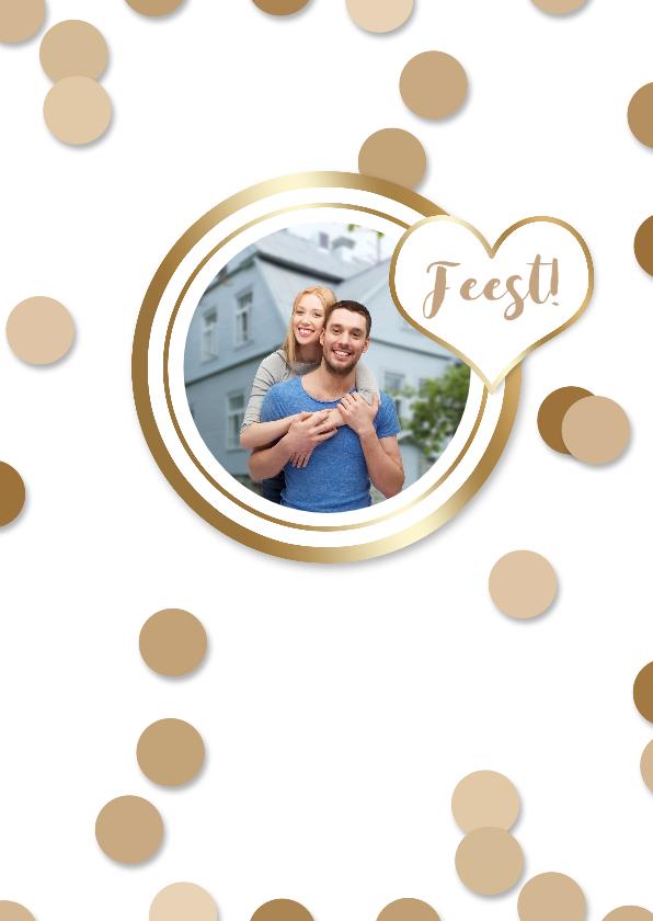 Uitnodigingen - Uitnodiging feest foto en confetti goud