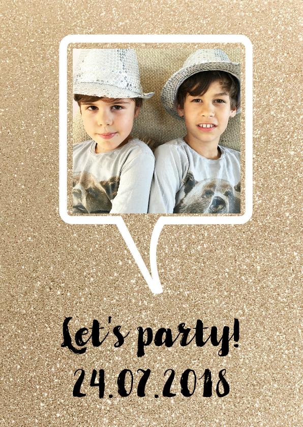 Uitnodigingen - Uitnodiging feest glitter praatwolk foto