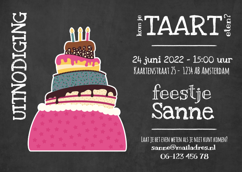Uitnodigingen - Uitnodiging feest met taart - DD