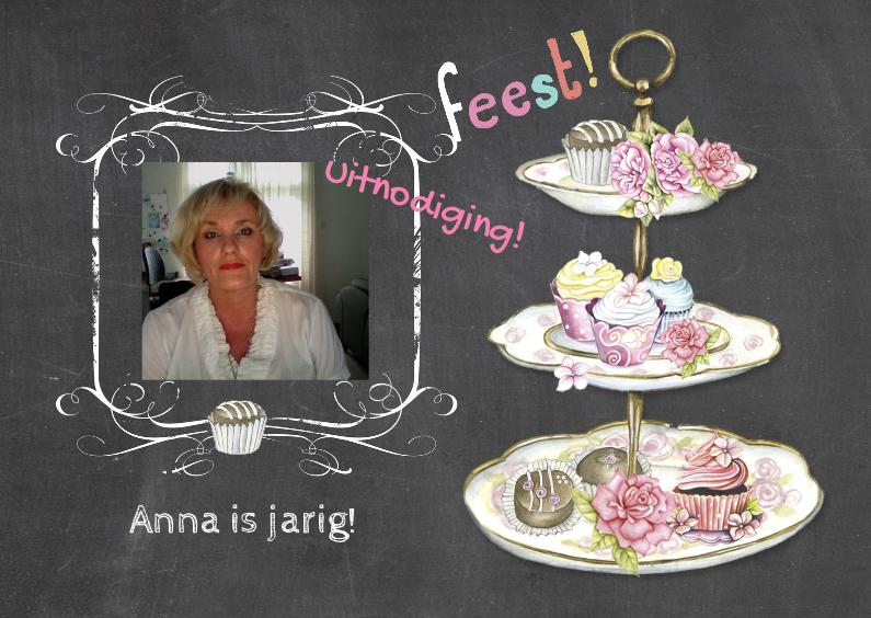 Uitnodigingen - uitnodiging feest taartjes