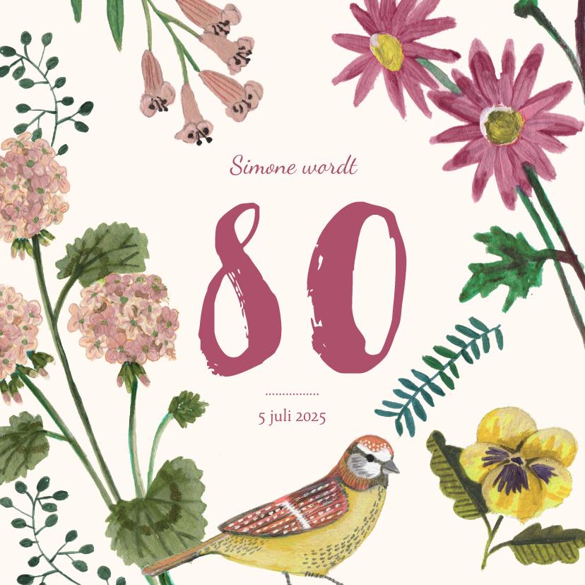 Uitnodigingen - Uitnodiging Feestje 80 Bloemen Botanisch