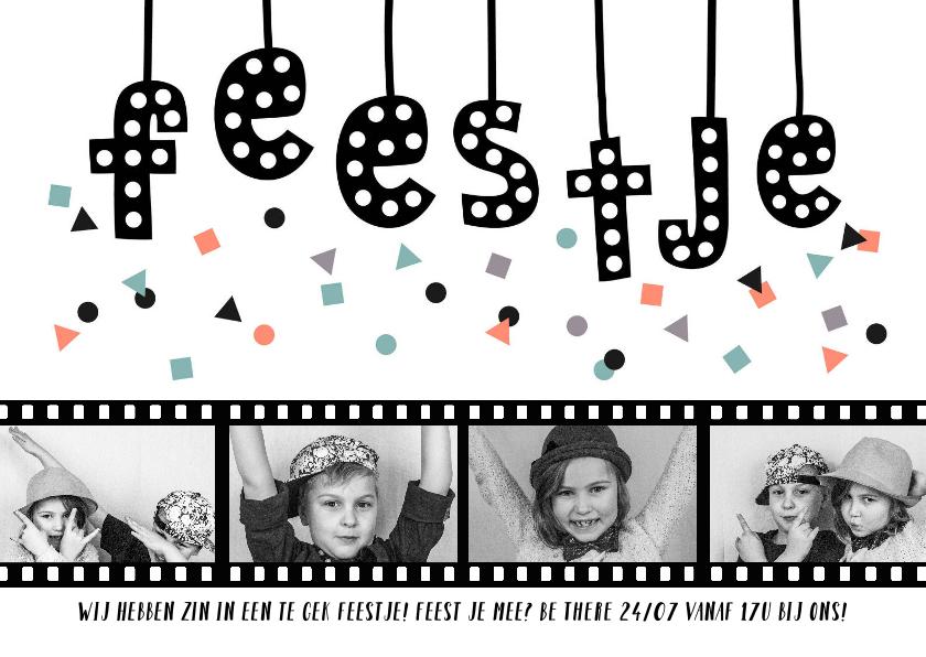 Uitnodigingen - Uitnodiging feestje algemeen fotocollage filmrol