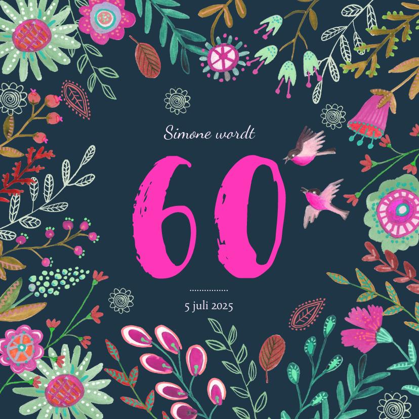 Uitnodigingen - Uitnodiging Feestje Bloemen Botanisch 60