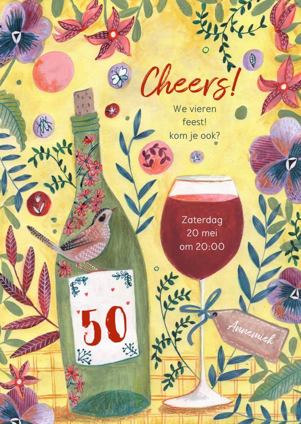 Uitnodigingen - Uitnodiging feestje botanisch bloemen wijn