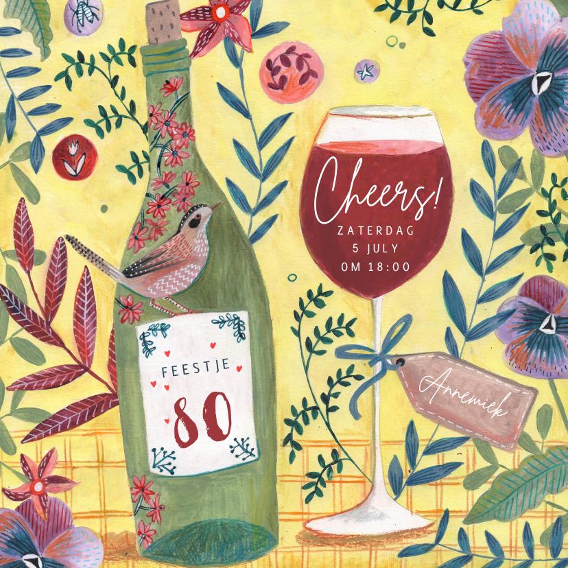 Uitnodigingen - Uitnodiging feestje botanische bloemen met wijn