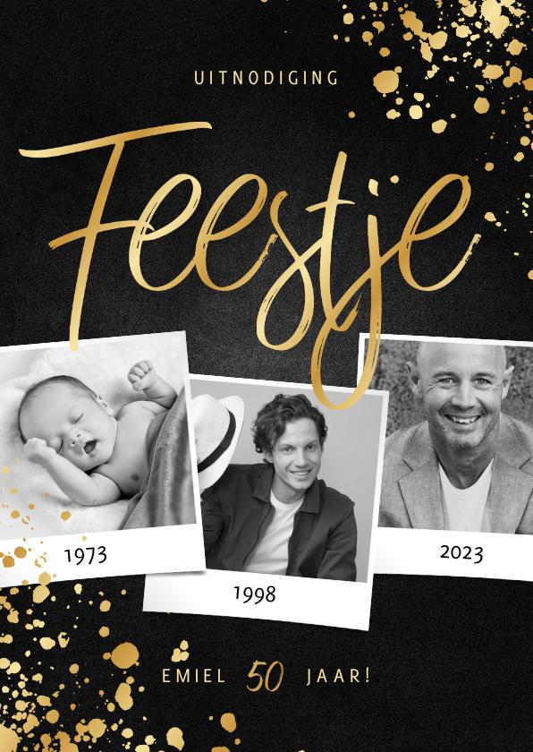Uitnodigingen - Uitnodiging feestje goud fotocollage met spetters