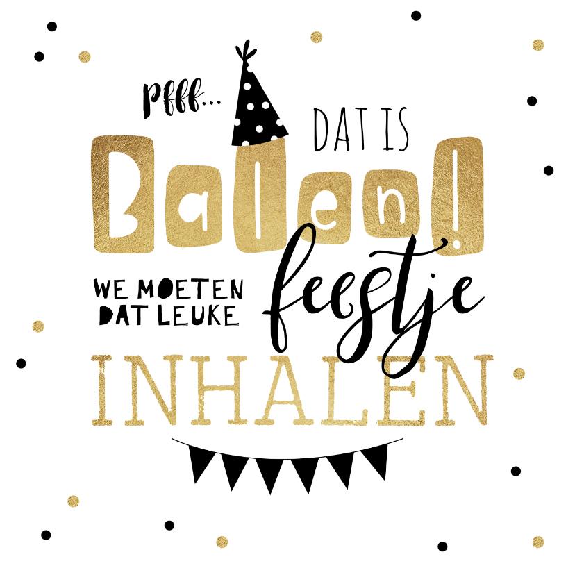 Uitnodigingen - Uitnodiging feestje inhalen slingers goud confetti feestmuts