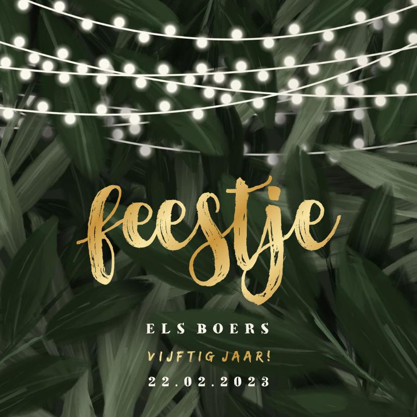 Uitnodigingen - Uitnodiging feestje jungle bladeren met lampjes