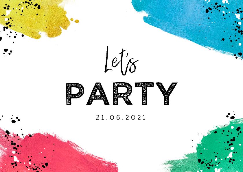 Uitnodigingen - Uitnodiging feestje kleurrijk met verf en spetters