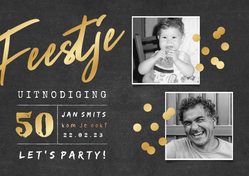 Uitnodigingen - Uitnodiging 'feestje' krijtbord met 2 foto's