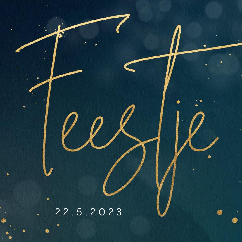 Uitnodigingen - Uitnodiging feestje met goudlook