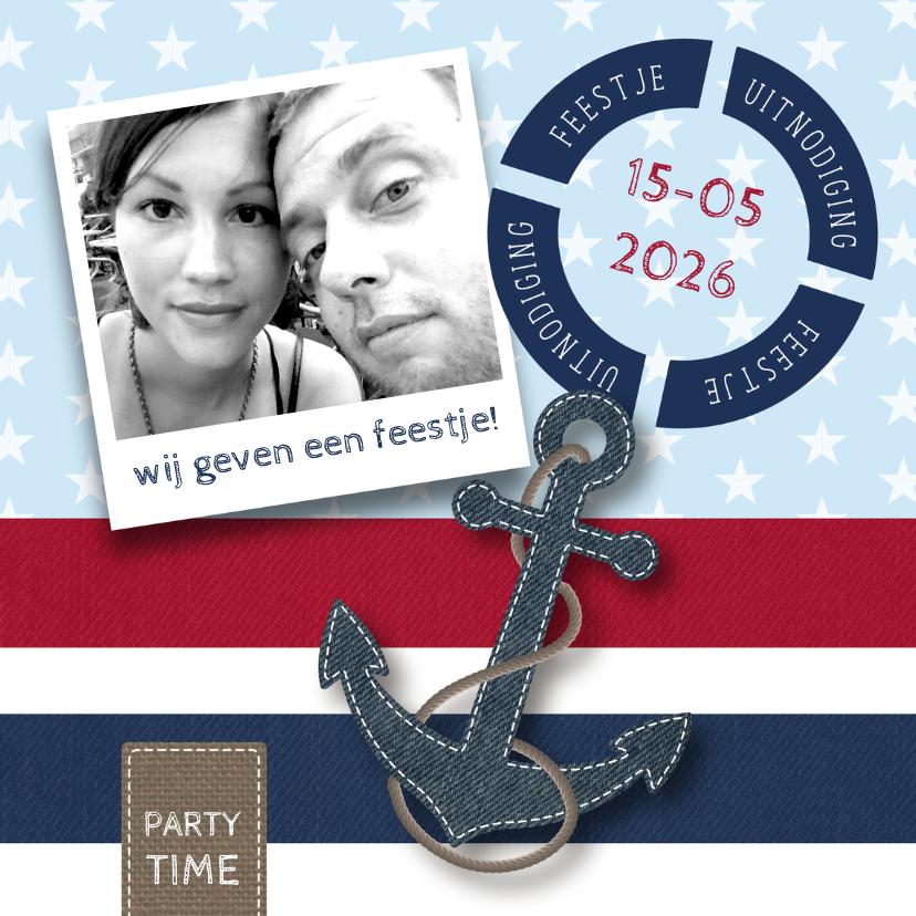 Uitnodigingen - Uitnodiging feestje nautisch foto
