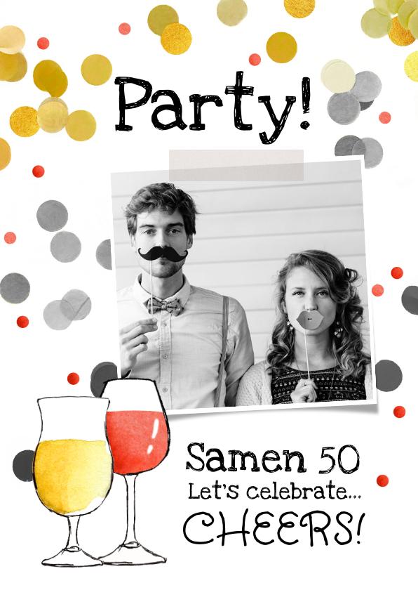 Uitnodigingen - Uitnodiging feestje samen cheers