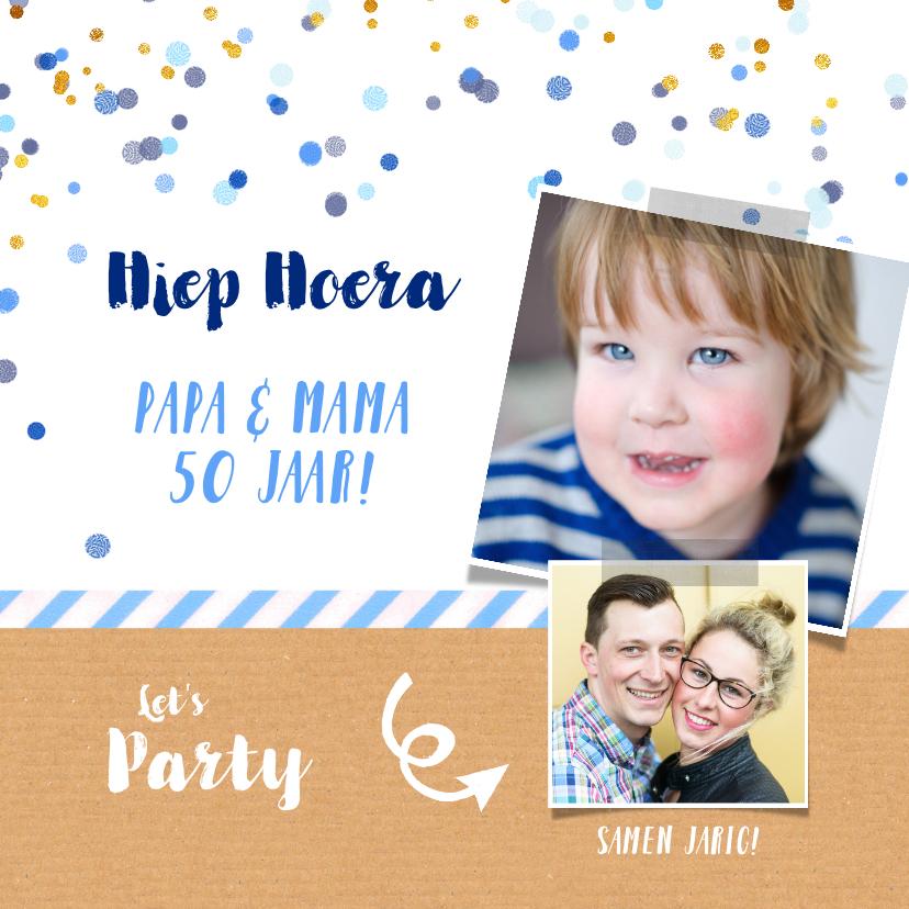 Uitnodigingen - Uitnodiging feestje samen fotocollage