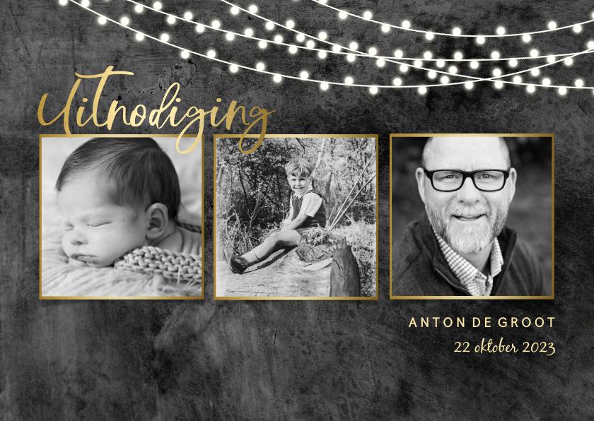 Uitnodigingen - Uitnodiging fotcollage stoer beton met lampjes en goud