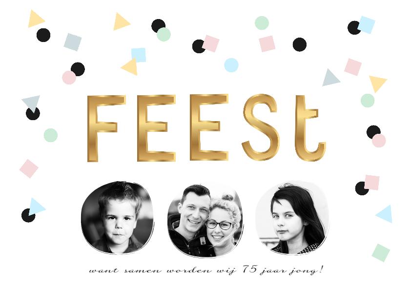 Uitnodigingen - Uitnodiging fotocollage verjaardag feest confetti