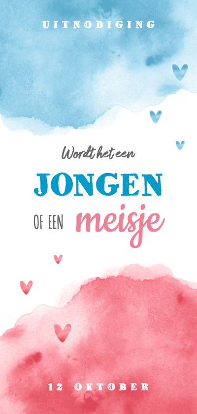 Uitnodigingen - Uitnodiging gender reveal party waterverf jongen meisje
