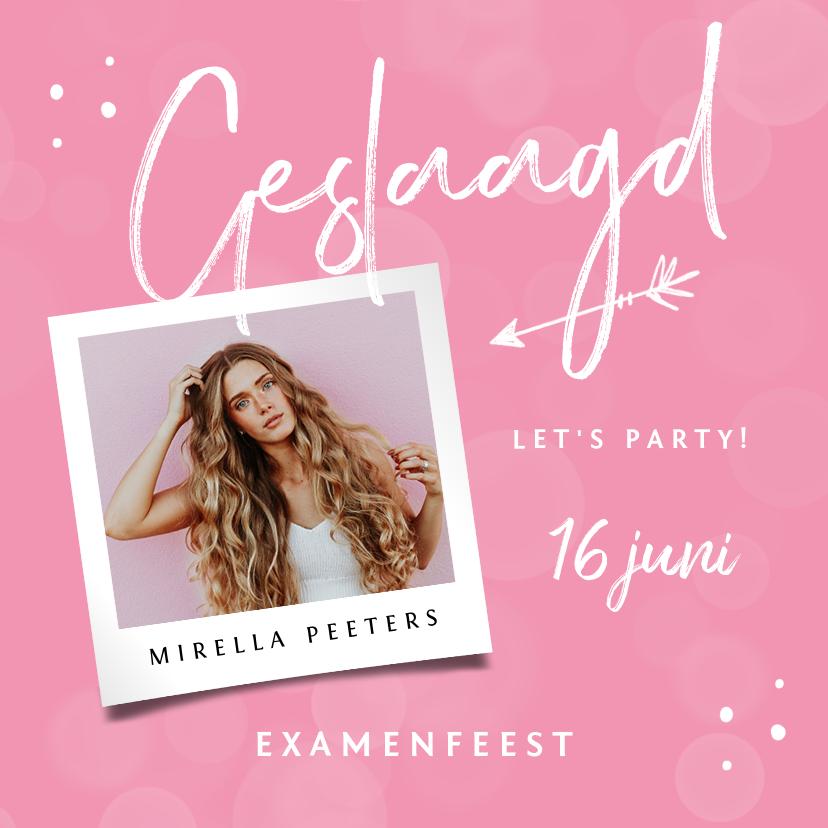 Uitnodigingen - Uitnodiging geslaagd examenfeest stijlvol roze