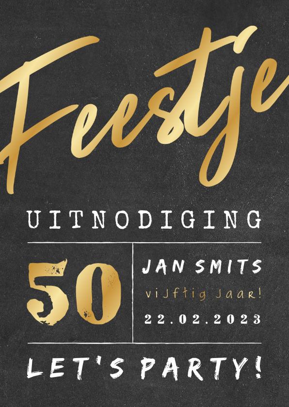 Uitnodigingen - Uitnodiging gouden 'feestje' krijtbord met leeftijd