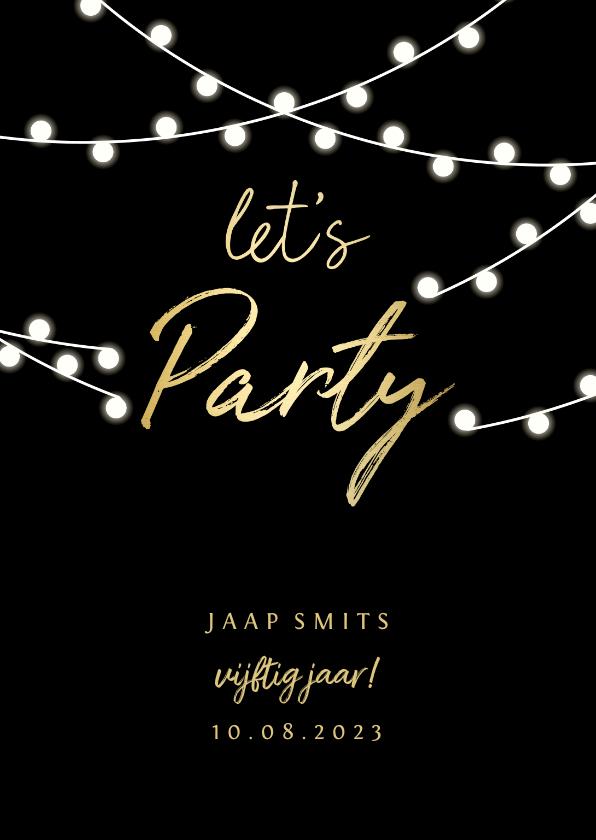 Uitnodigingen - Uitnodiging gouden 'let's party' met lampjes
