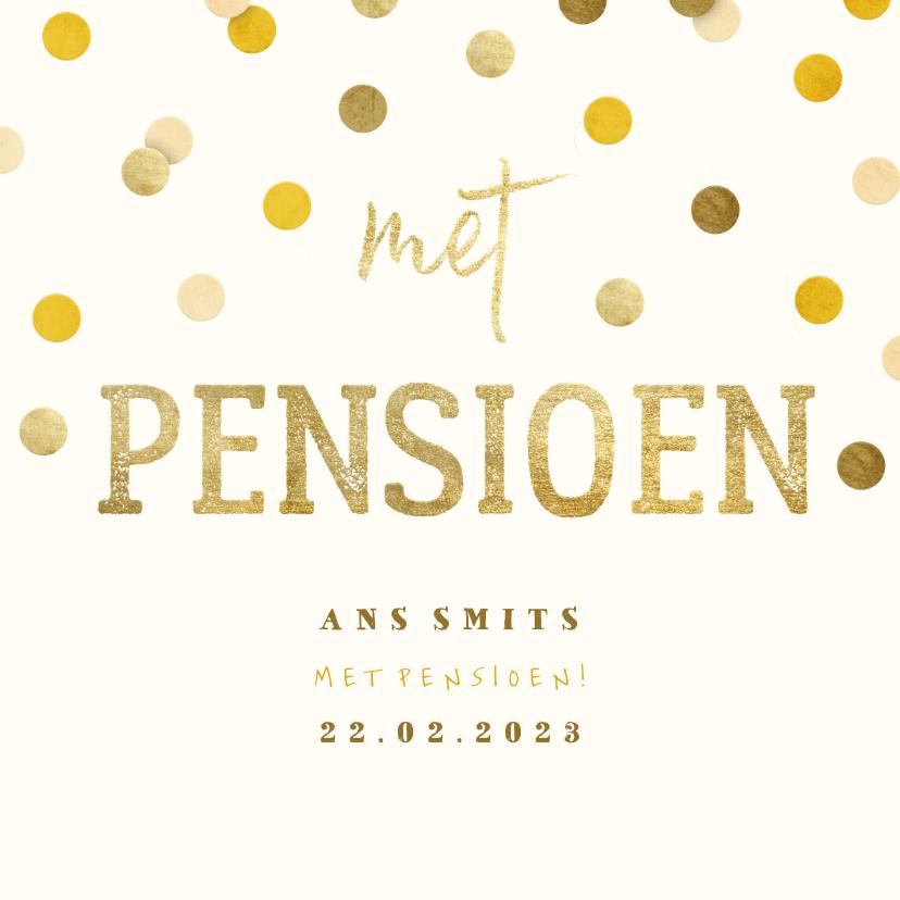 Uitnodigingen - Uitnodiging gouden 'met pensioen' met confetti