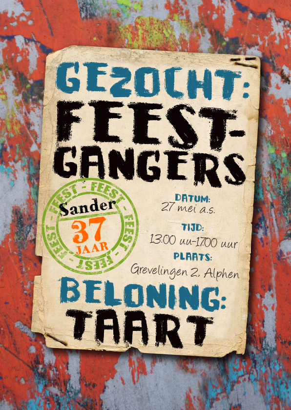 Uitnodigingen - uitnodiging graffiti mannen tiener