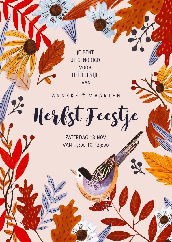Uitnodigingen - Uitnodiging herfstbladeren feestje