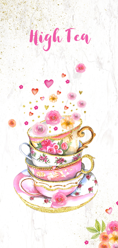 Uitnodigingen - Uitnodiging High Tea kopjes bloemen