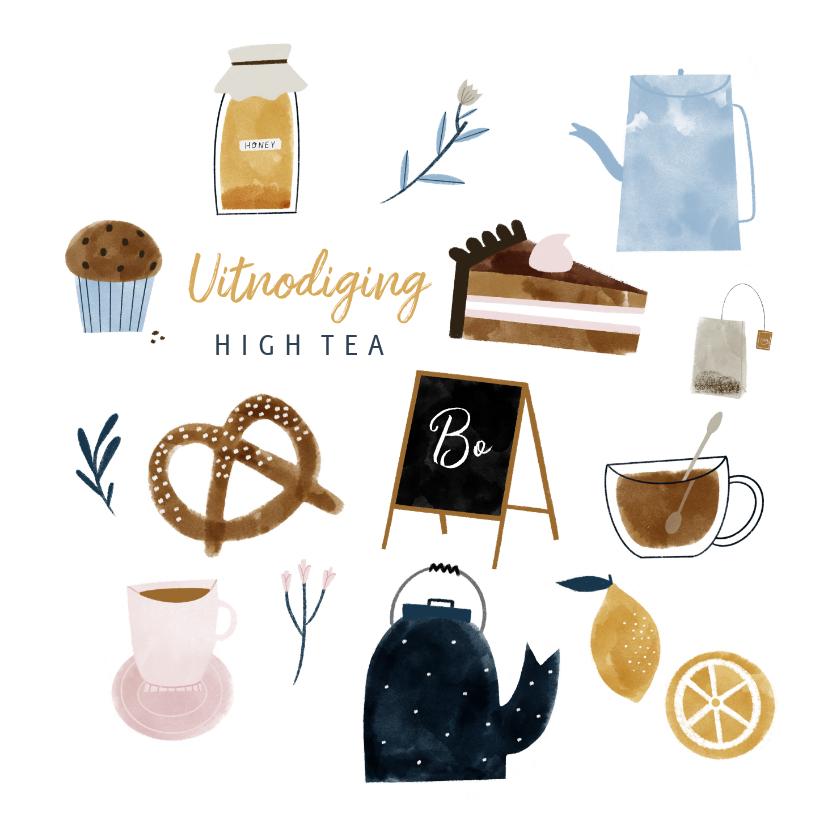 Uitnodigingen - Uitnodiging High Tea met vrolijke illustraties