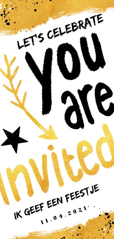 Uitnodigingen - Uitnodiging hip en feestelijk voor een feestje