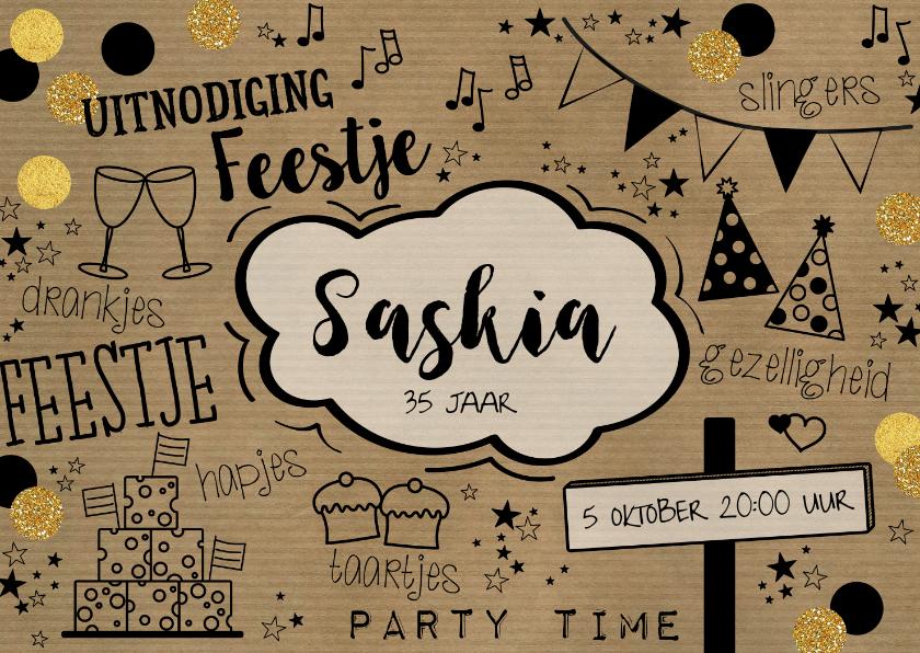 Uitnodigingen - uitnodiging hippe typografische kaart met karton look