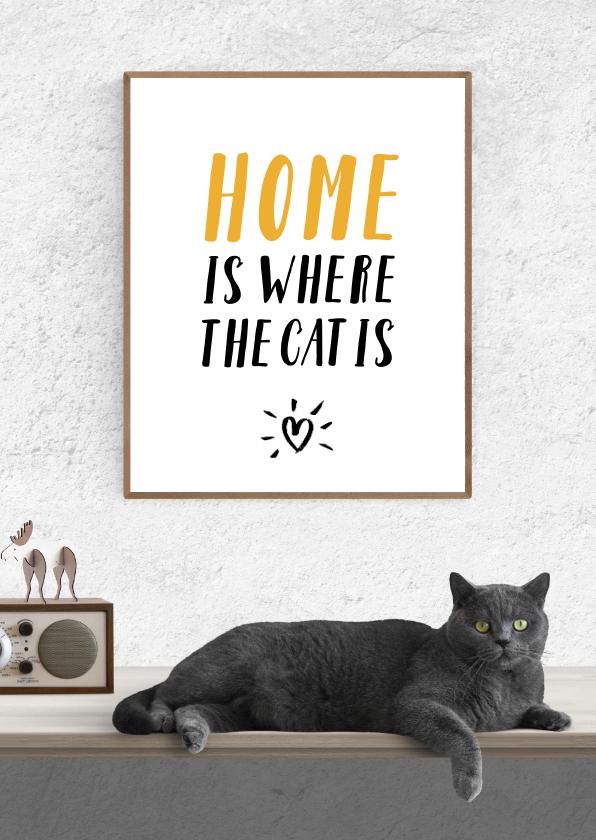 Uitnodigingen - Uitnodiging Home is where the cat is