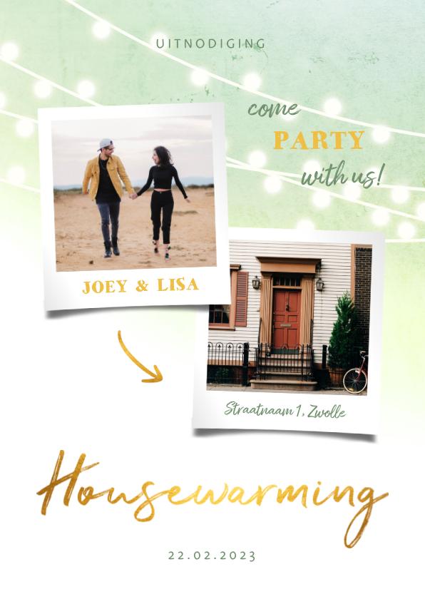 Uitnodigingen - Uitnodiging housewarming goud met foto's en lampjes