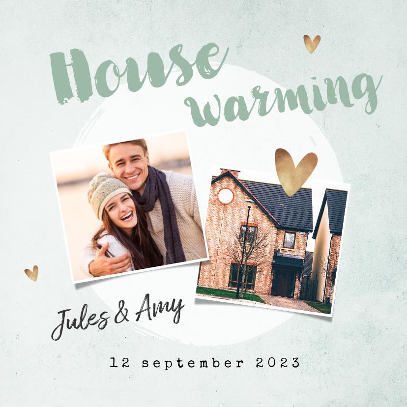 Uitnodigingen - Uitnodiging housewarming groen goud plantje foto's