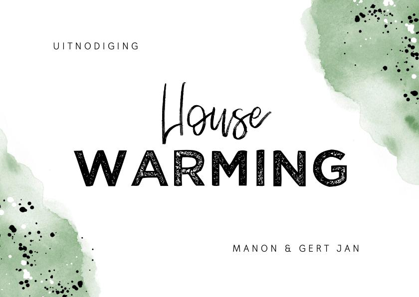 Uitnodigingen - Uitnodiging housewarming hip met waterverf en spetters