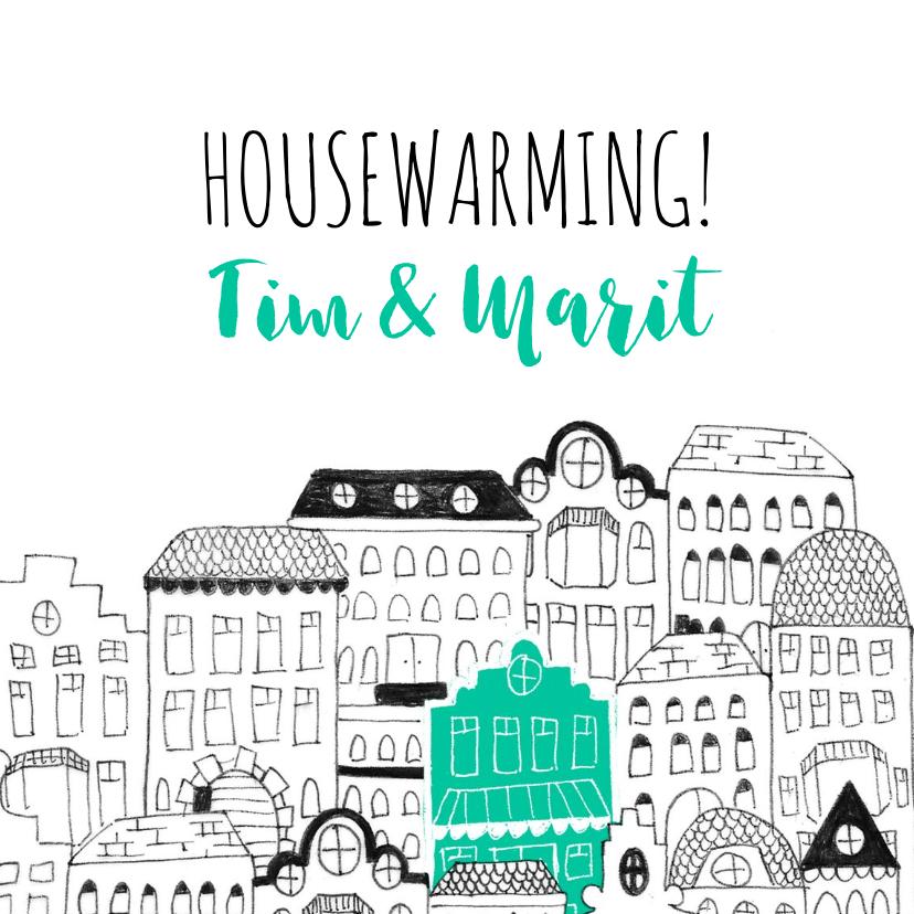 Uitnodigingen - Uitnodiging housewarming illustratie herenhuisjes