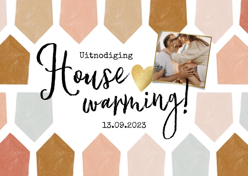 Uitnodigingen - Uitnodiging housewarming met abstract huisjes patroon