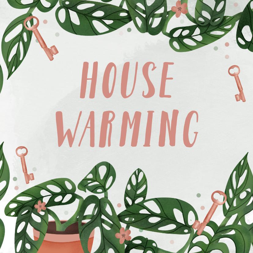 Uitnodigingen - Uitnodiging housewarming met Monstera en sleutels