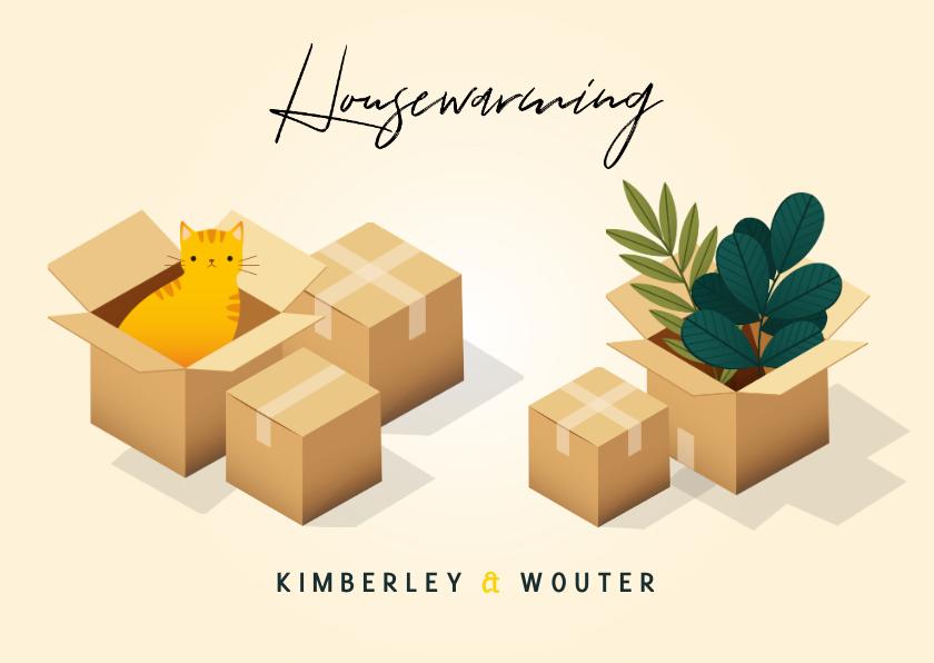 Uitnodigingen - Uitnodiging Housewarming met verhuisdozen, planten en kat