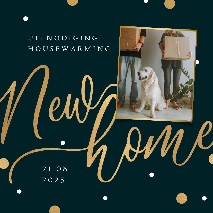 Uitnodigingen - Uitnodiging housewarming new home goud confetti foto