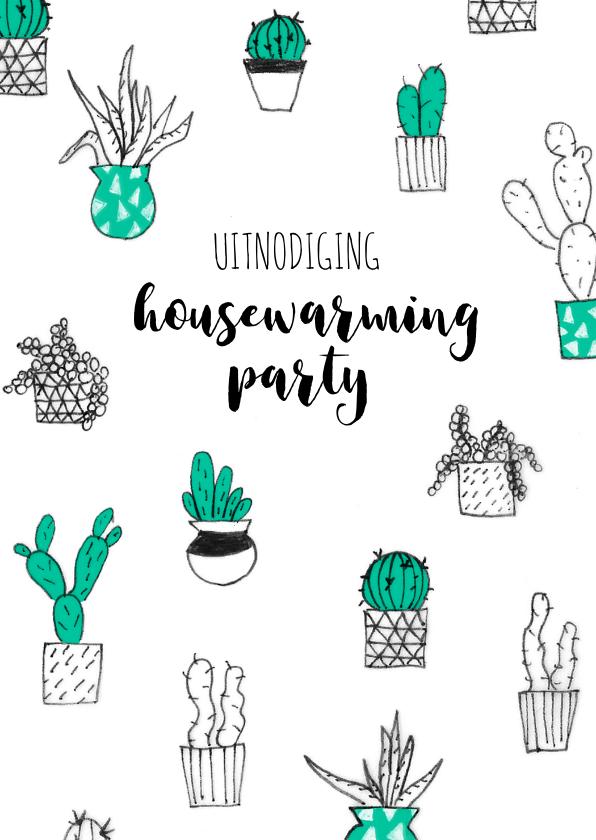 Uitnodigingen - Uitnodiging housewarming party cactussen planten
