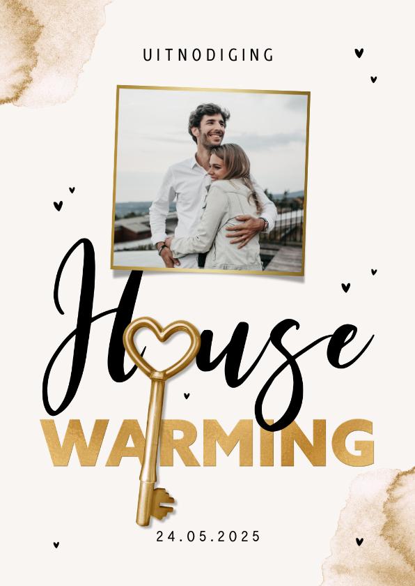 Uitnodigingen - Uitnodiging housewarming sleutel waterverf foto goud