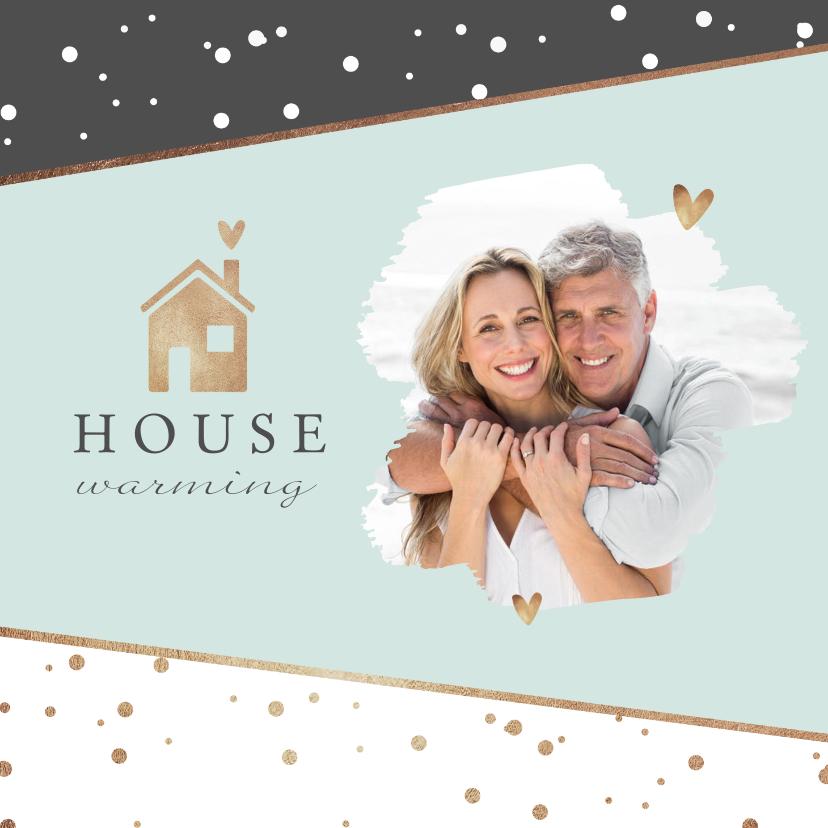 Uitnodigingen - Uitnodiging housewarming stijlvol goud huisje champagne foto