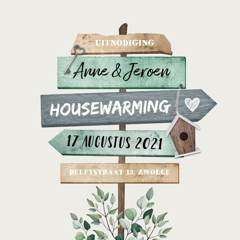 Uitnodigingen - Uitnodiging housewarming wegwijzers