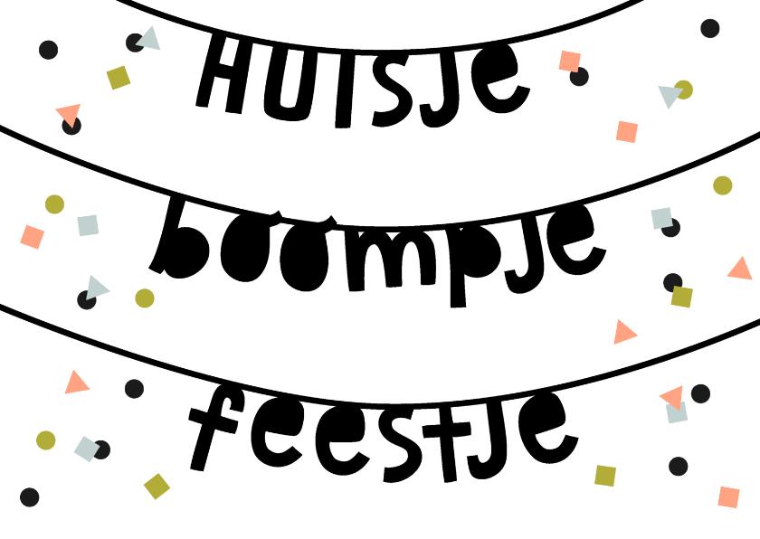 Uitnodigingen - Uitnodiging huisje boompje feestje confetti