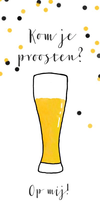 Uitnodigingen - Uitnodiging illustratie bier proost confetti