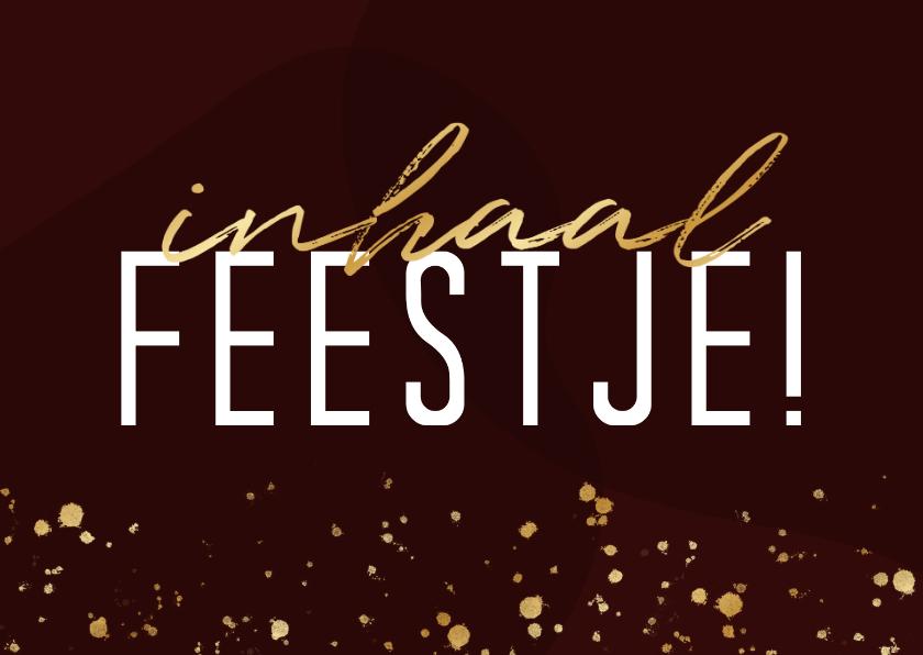 Uitnodigingen - Uitnodiging inhaalfeestje met gouden spetters