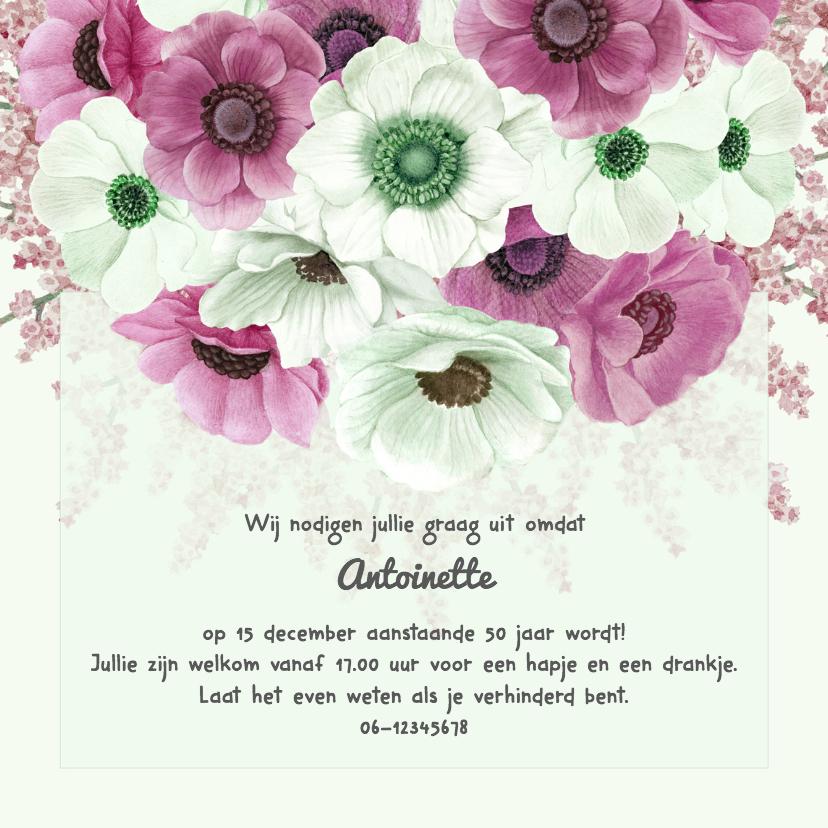 Uitnodigingen - Uitnodiging jarig anemonen